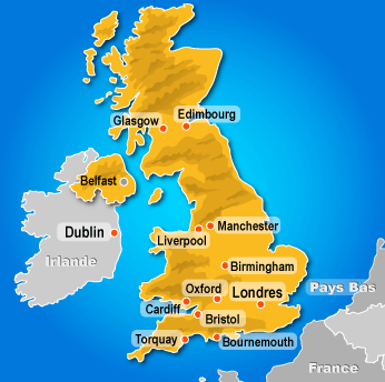 Carte du royaume uni angleterre irlande pays de galle ecosse